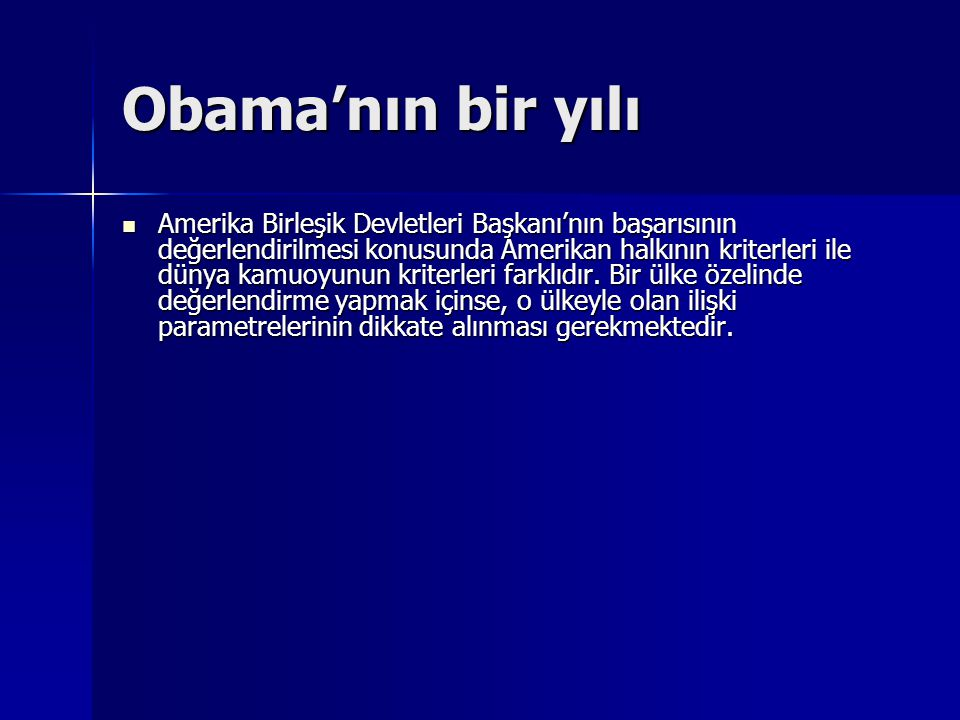 Obama'nın bir yılı
