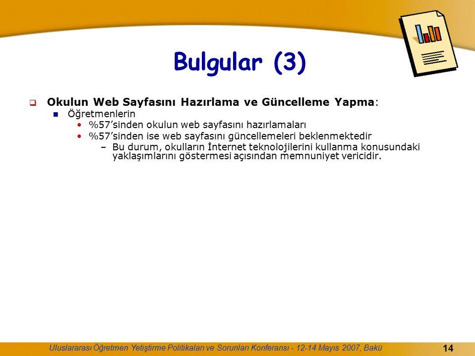 Bulgular (3) Okulun Web Sayfasını Hazırlama ve Güncelleme Yapma: