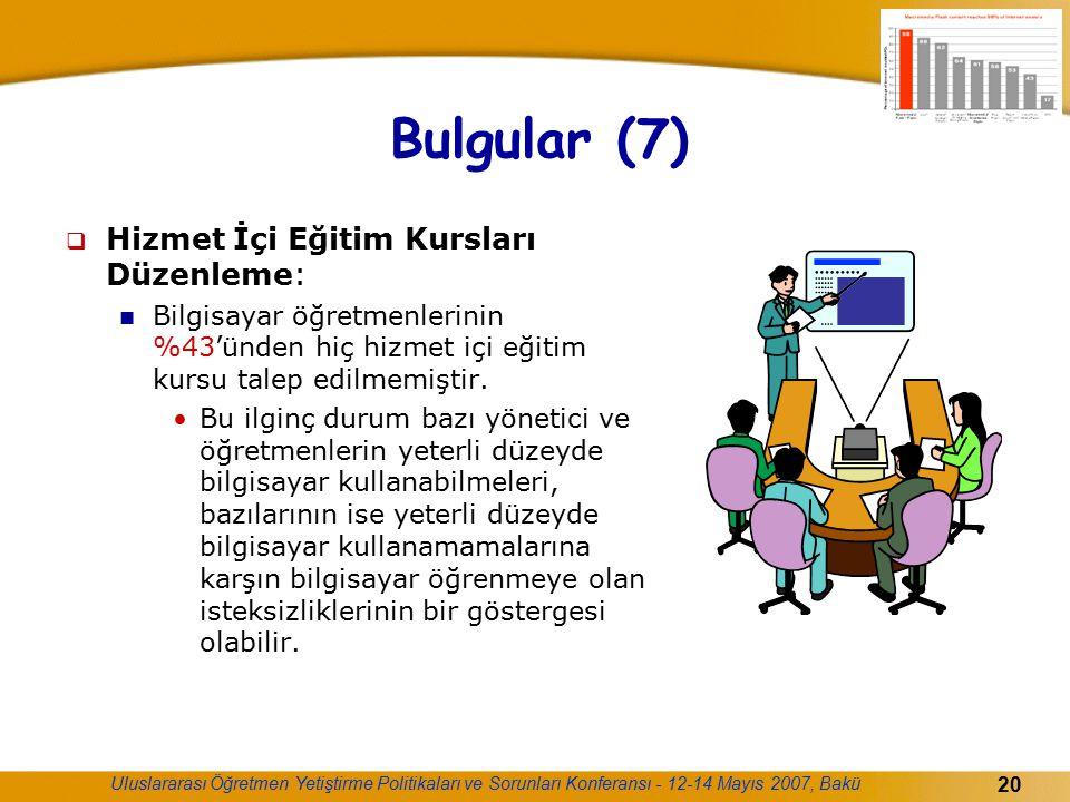 Bulgular (7) Hizmet İçi Eğitim Kursları Düzenleme: