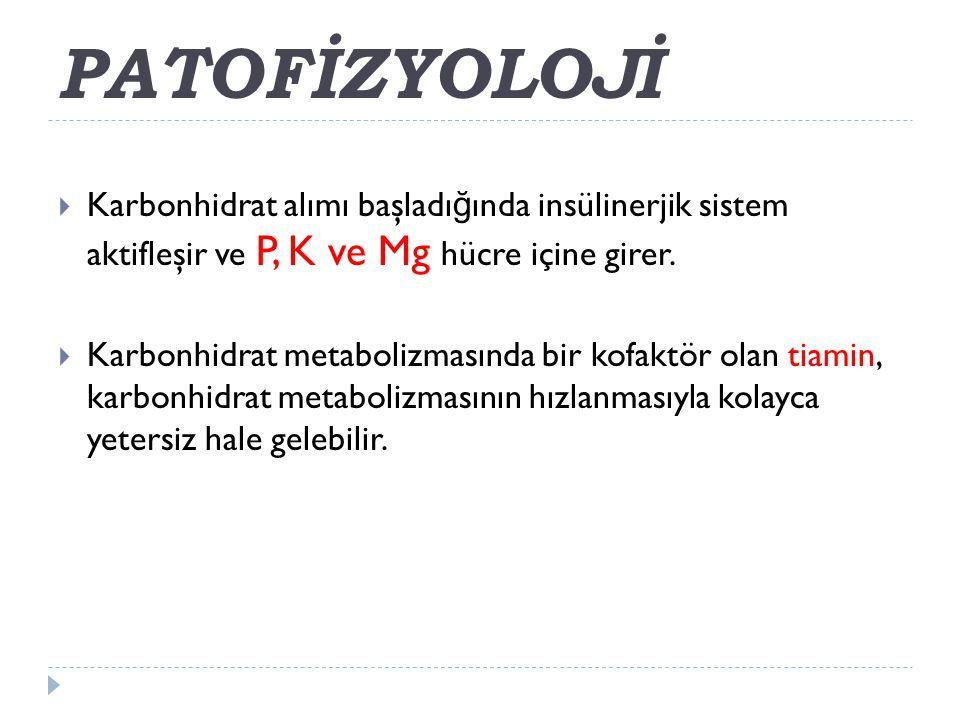 PATOFİZYOLOJİ Karbonhidrat alımı başladığında insülinerjik sistem aktifleşir ve P, K ve Mg hücre içine girer.