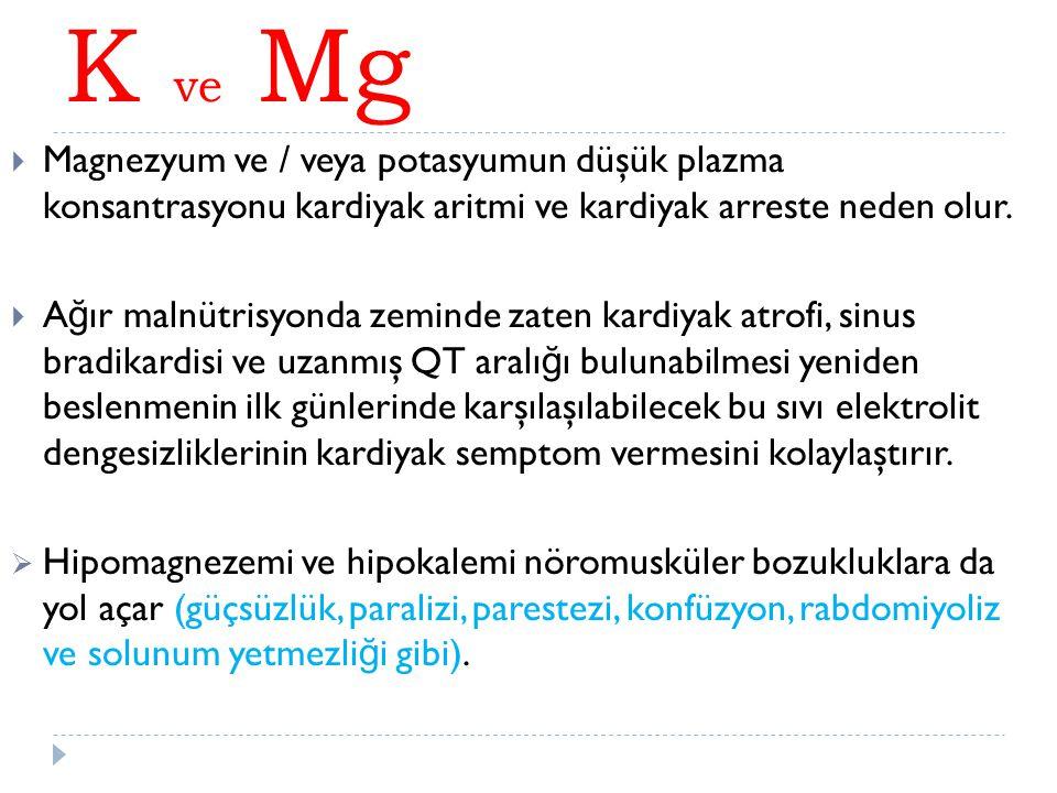K ve Mg Magnezyum ve / veya potasyumun düşük plazma konsantrasyonu kardiyak aritmi ve kardiyak arreste neden olur.