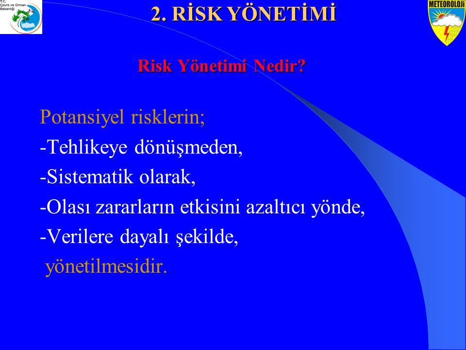 Potansiyel risklerin; -Tehlikeye dönüşmeden, -Sistematik olarak,
