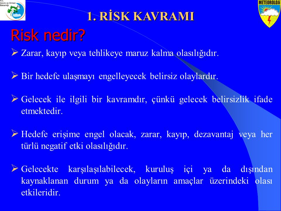 Risk nedir 1. RİSK KAVRAMI