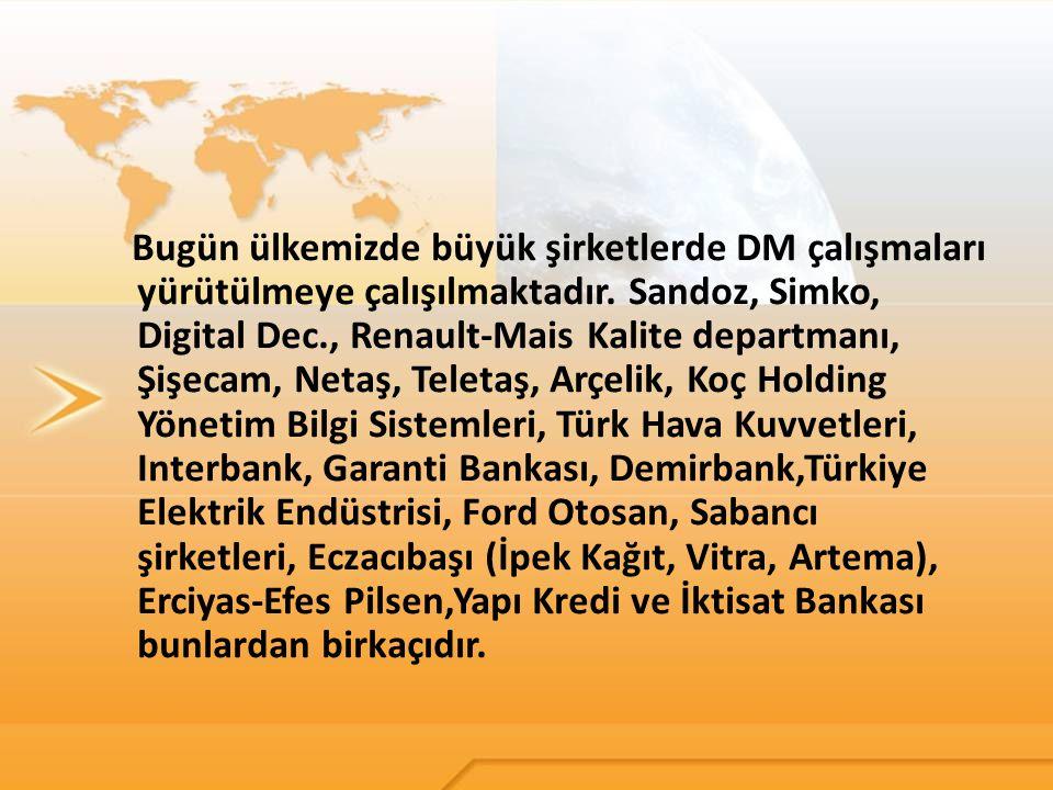 Bugün ülkemizde büyük şirketlerde DM çalışmaları yürütülmeye çalışılmaktadır.