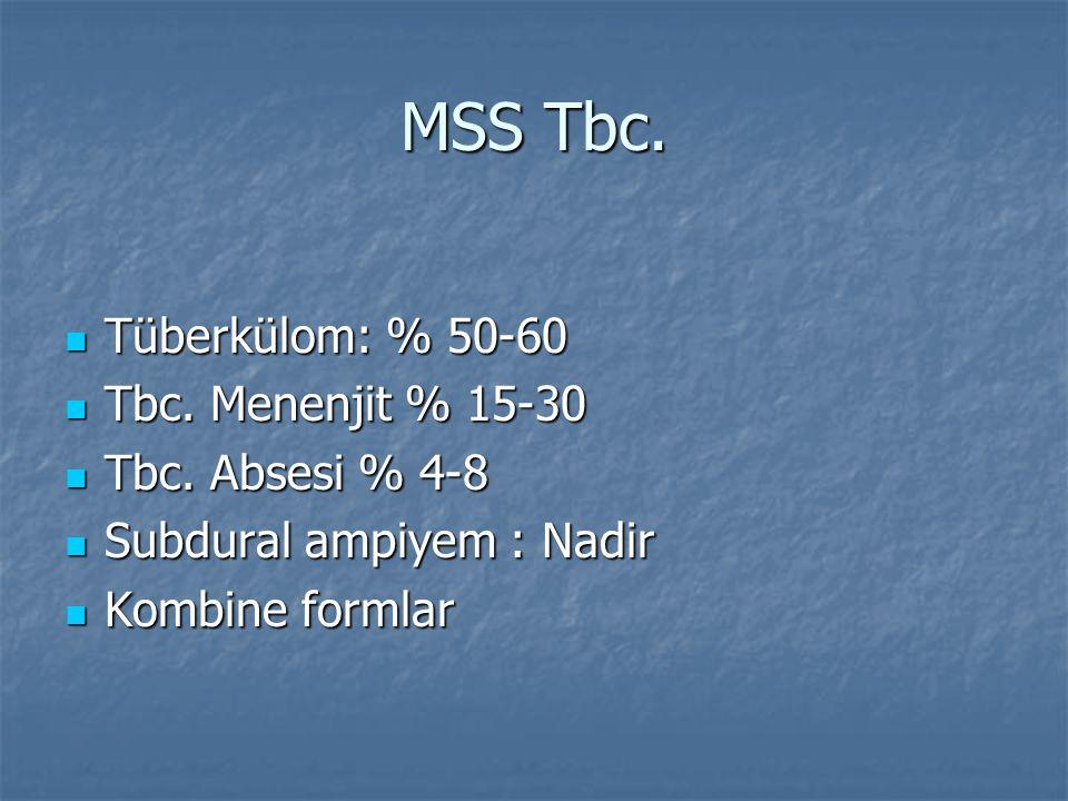 MSS Tbc. Tüberkülom: % 50-60 Tbc. Menenjit % 15-30 Tbc. Absesi % 4-8