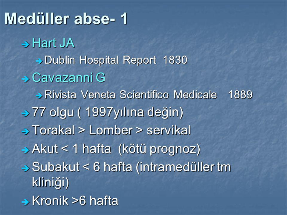 Medüller abse- 1 Hart JA Cavazanni G 77 olgu ( 1997yılına değin)