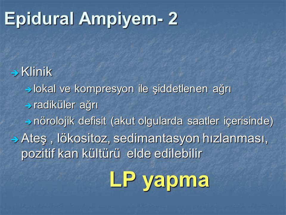 LP yapma Epidural Ampiyem- 2 Klinik