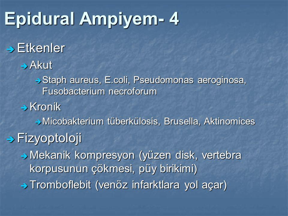 Epidural Ampiyem- 4 Etkenler Fizyoptoloji Akut Kronik