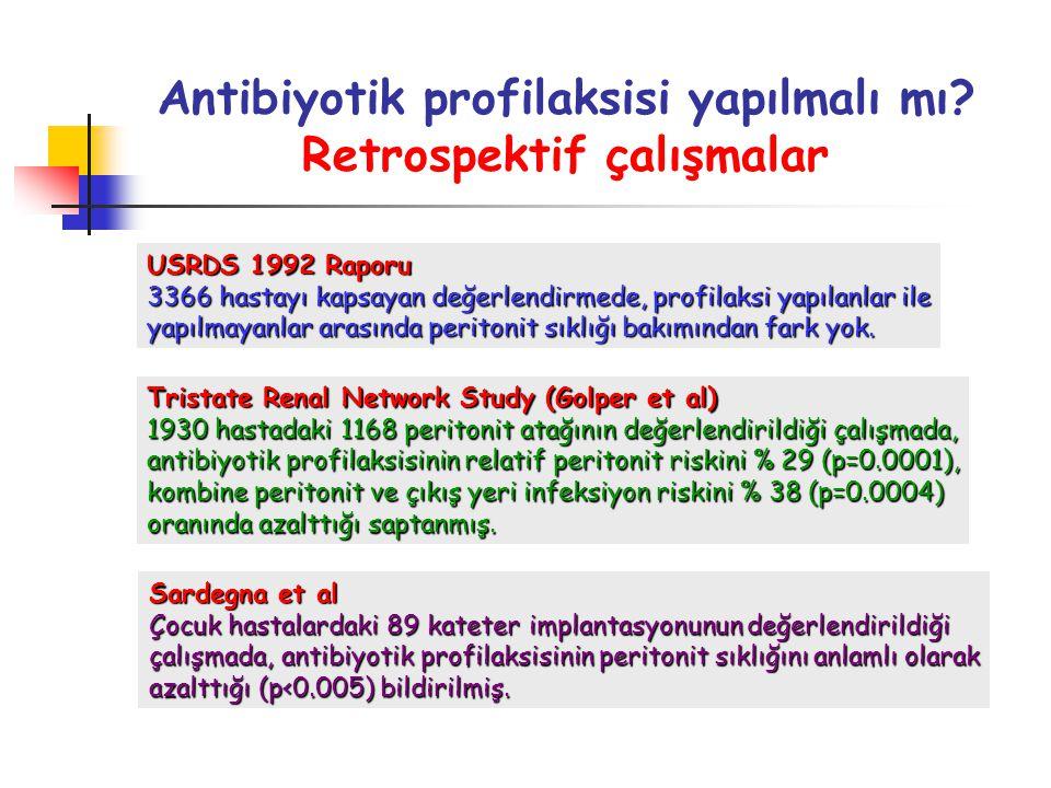 Antibiyotik profilaksisi yapılmalı mı Retrospektif çalışmalar