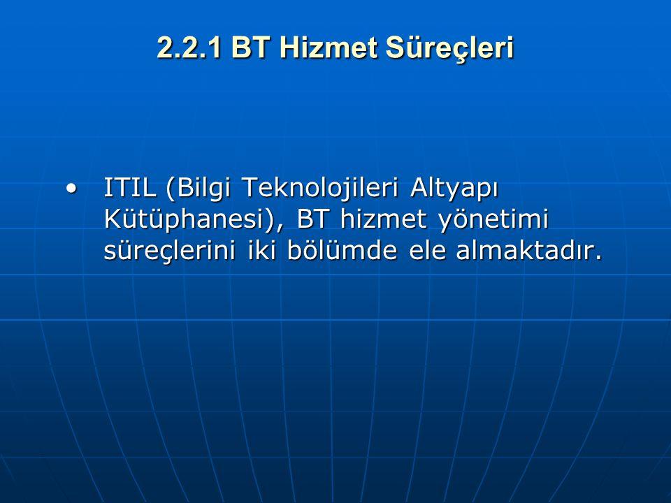 2.2.1 BT Hizmet Süreçleri ITIL (Bilgi Teknolojileri Altyapı Kütüphanesi), BT hizmet yönetimi süreçlerini iki bölümde ele almaktadır.