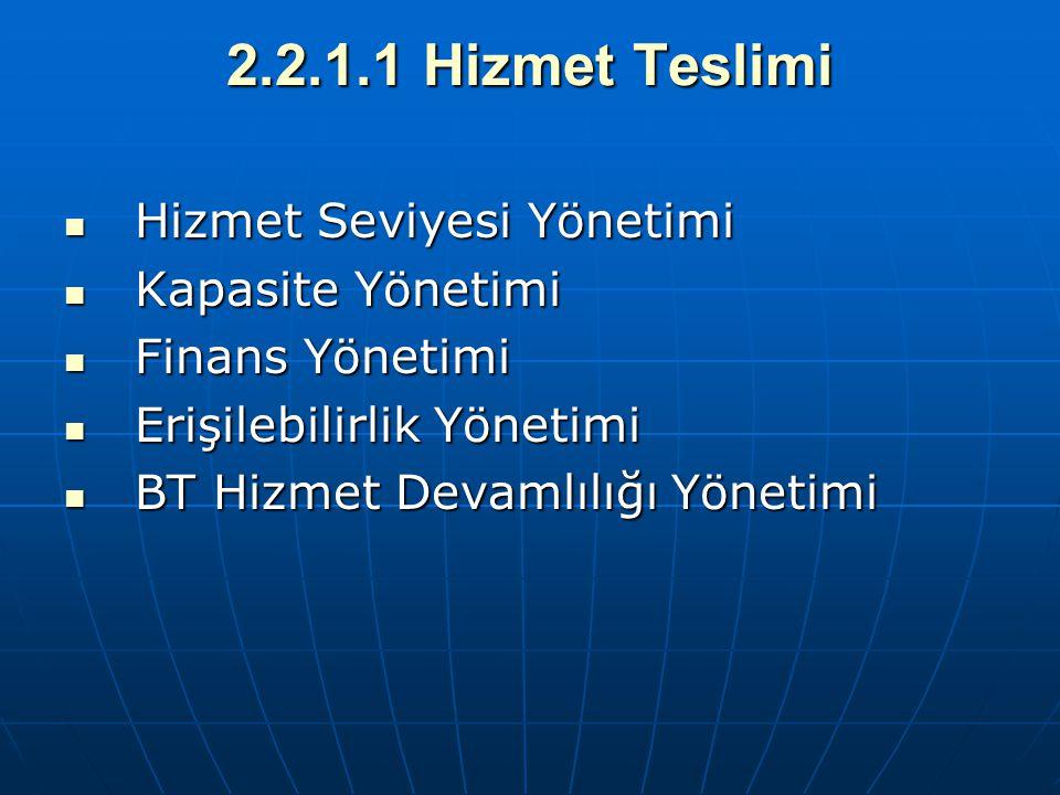 2.2.1.1 Hizmet Teslimi Hizmet Seviyesi Yönetimi Kapasite Yönetimi