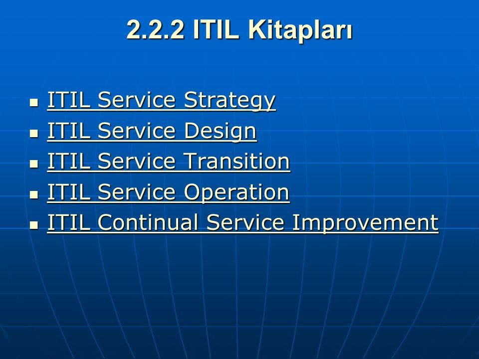 2.2.2 ITIL Kitapları ITIL Service Strategy ITIL Service Design