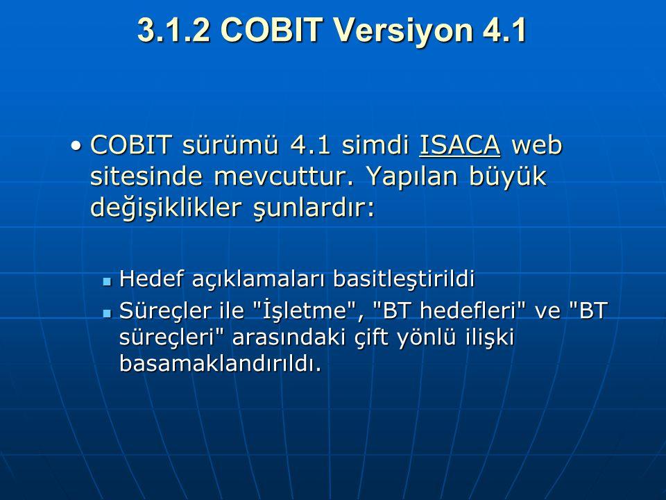 3.1.2 COBIT Versiyon 4.1 COBIT sürümü 4.1 simdi ISACA web sitesinde mevcuttur. Yapılan büyük değişiklikler şunlardır: