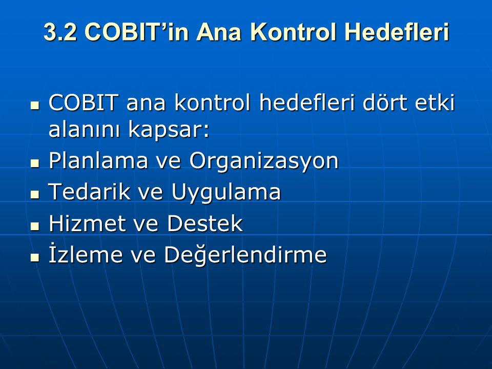 3.2 COBIT'in Ana Kontrol Hedefleri
