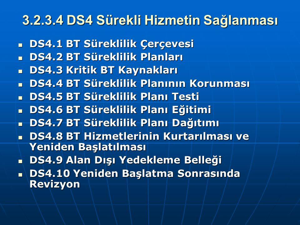 3.2.3.4 DS4 Sürekli Hizmetin Sağlanması