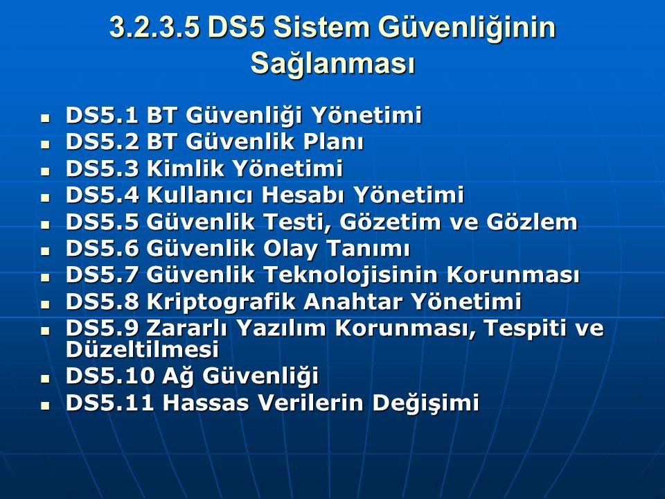 3.2.3.5 DS5 Sistem Güvenliğinin Sağlanması