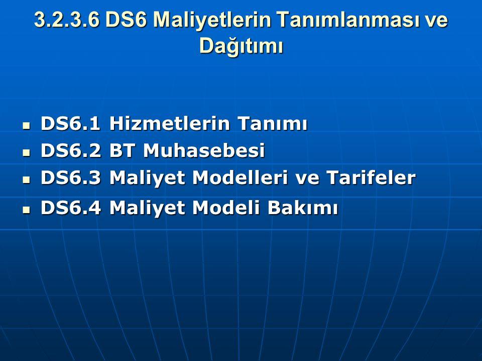 3.2.3.6 DS6 Maliyetlerin Tanımlanması ve Dağıtımı