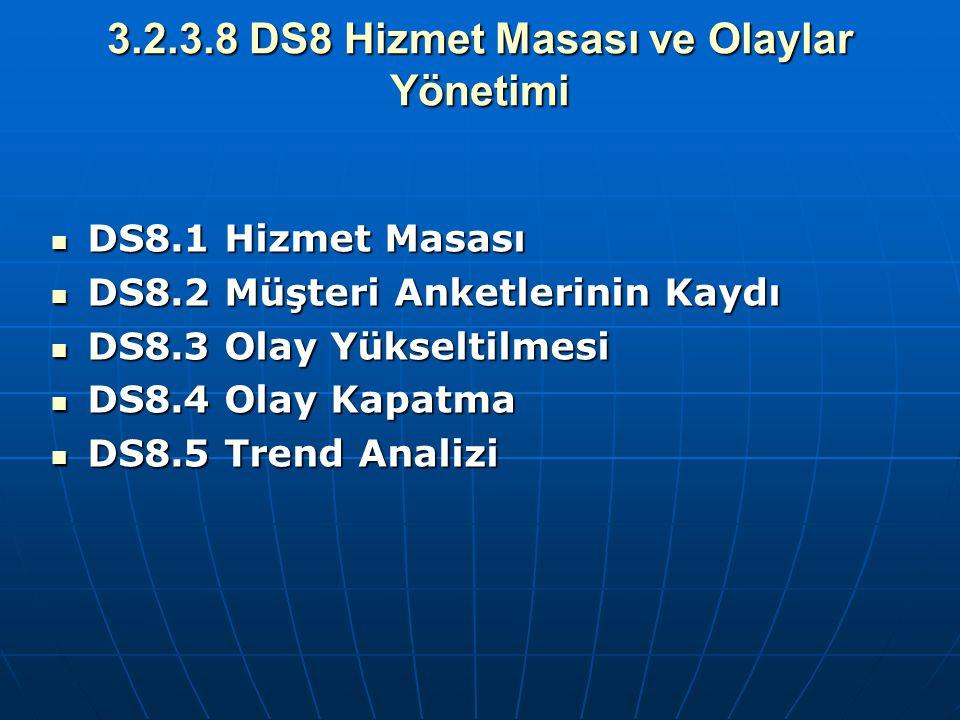 3.2.3.8 DS8 Hizmet Masası ve Olaylar Yönetimi