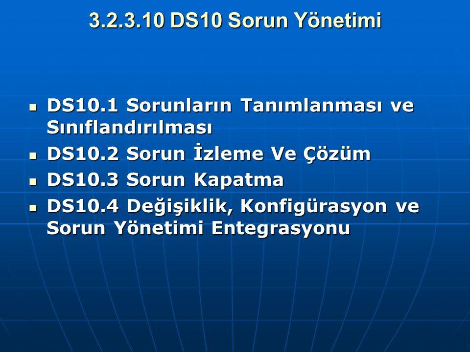 3.2.3.10 DS10 Sorun Yönetimi DS10.1 Sorunların Tanımlanması ve Sınıflandırılması. DS10.2 Sorun İzleme Ve Çözüm.