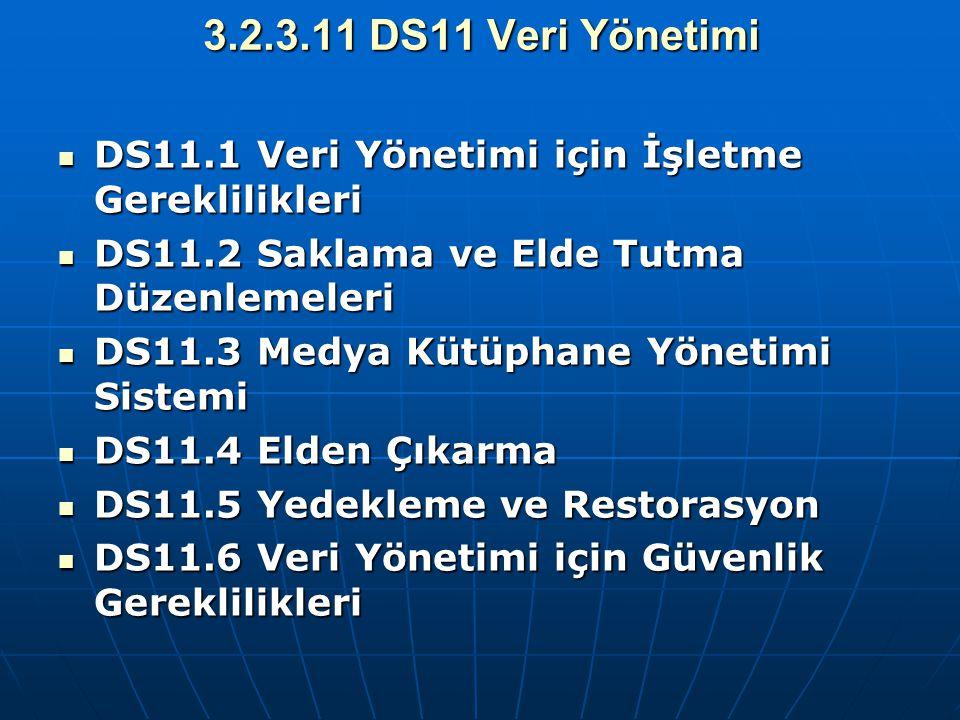 3.2.3.11 DS11 Veri Yönetimi DS11.1 Veri Yönetimi için İşletme Gereklilikleri. DS11.2 Saklama ve Elde Tutma Düzenlemeleri.
