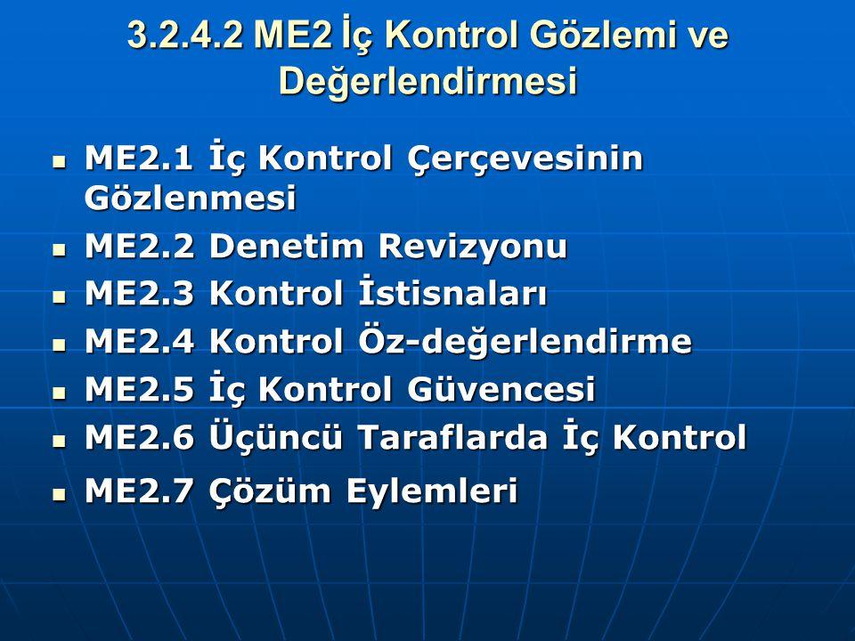 3.2.4.2 ME2 İç Kontrol Gözlemi ve Değerlendirmesi