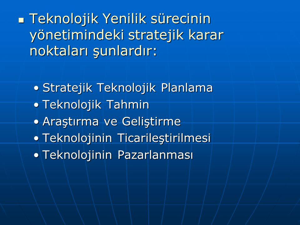 Teknolojik Yenilik sürecinin yönetimindeki stratejik karar noktaları şunlardır: