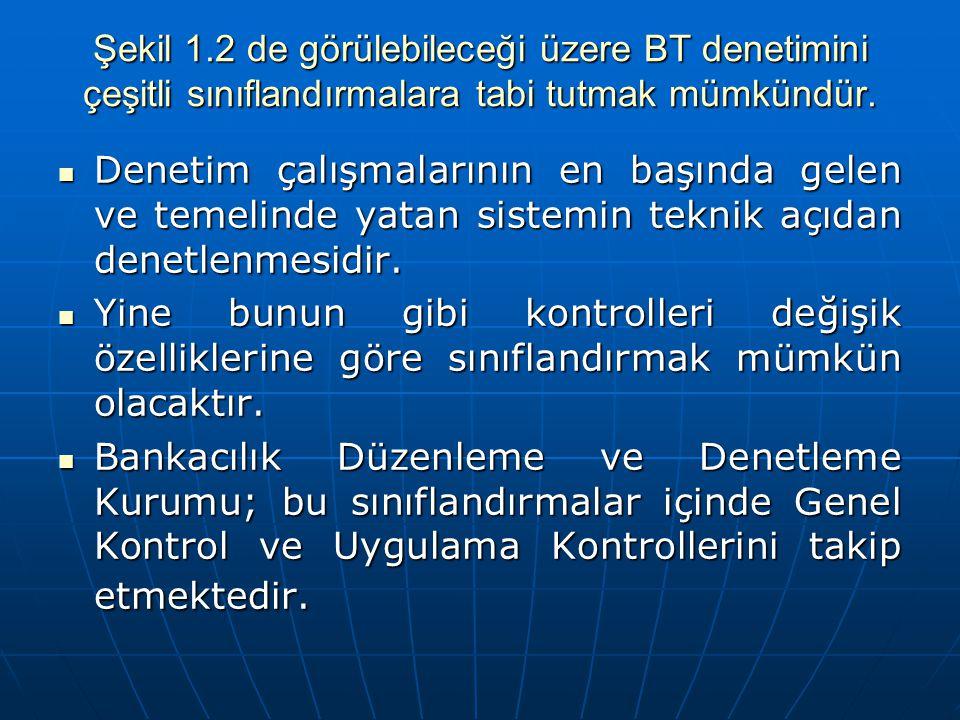 Şekil 1.2 de görülebileceği üzere BT denetimini çeşitli sınıflandırmalara tabi tutmak mümkündür.