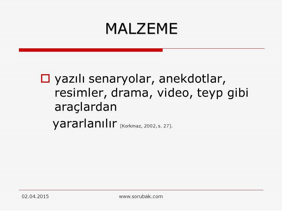 MALZEME yazılı senaryolar, anekdotlar, resimler, drama, video, teyp gibi araçlardan. yararlanılır (Korkmaz, 2002, s. 27).