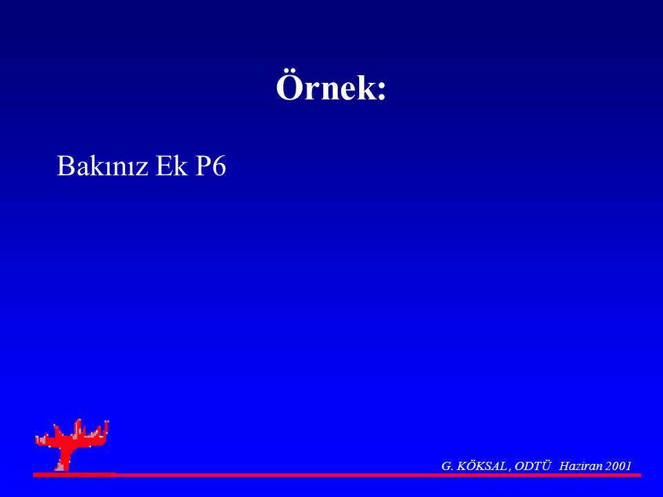 Örnek: Bakınız Ek P6 G. KÖKSAL , ODTÜ Haziran 2001