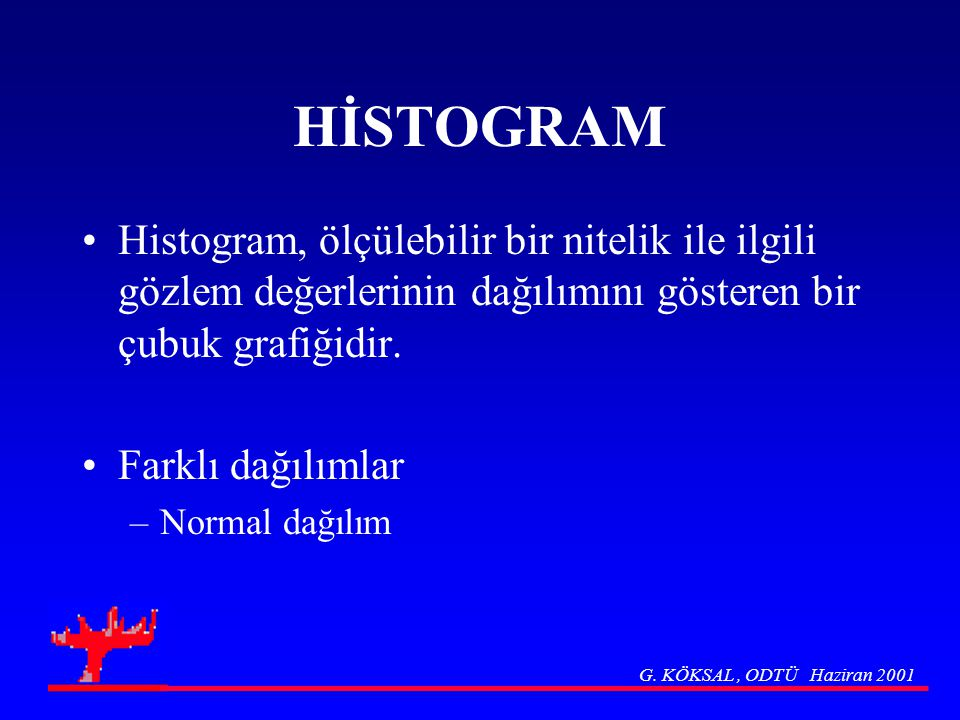 HİSTOGRAM Histogram, ölçülebilir bir nitelik ile ilgili gözlem değerlerinin dağılımını gösteren bir çubuk grafiğidir.