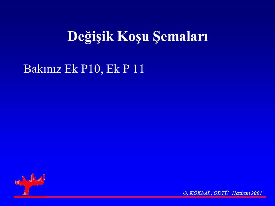 Değişik Koşu Şemaları Bakınız Ek P10, Ek P 11