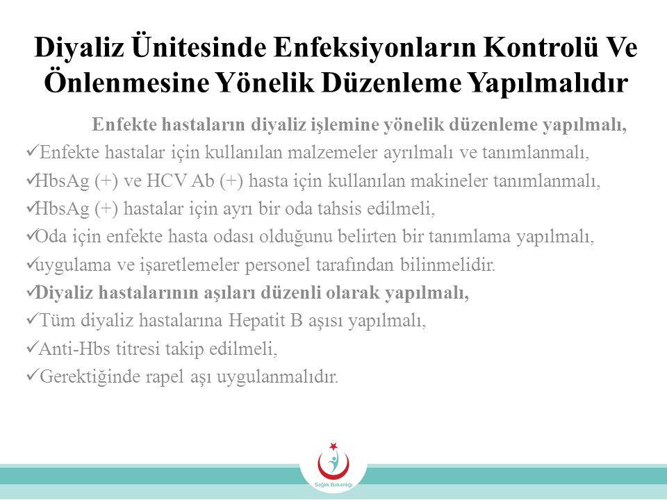 Diyaliz Ünitesinde Enfeksiyonların Kontrolü Ve Önlenmesine Yönelik Düzenleme Yapılmalıdır