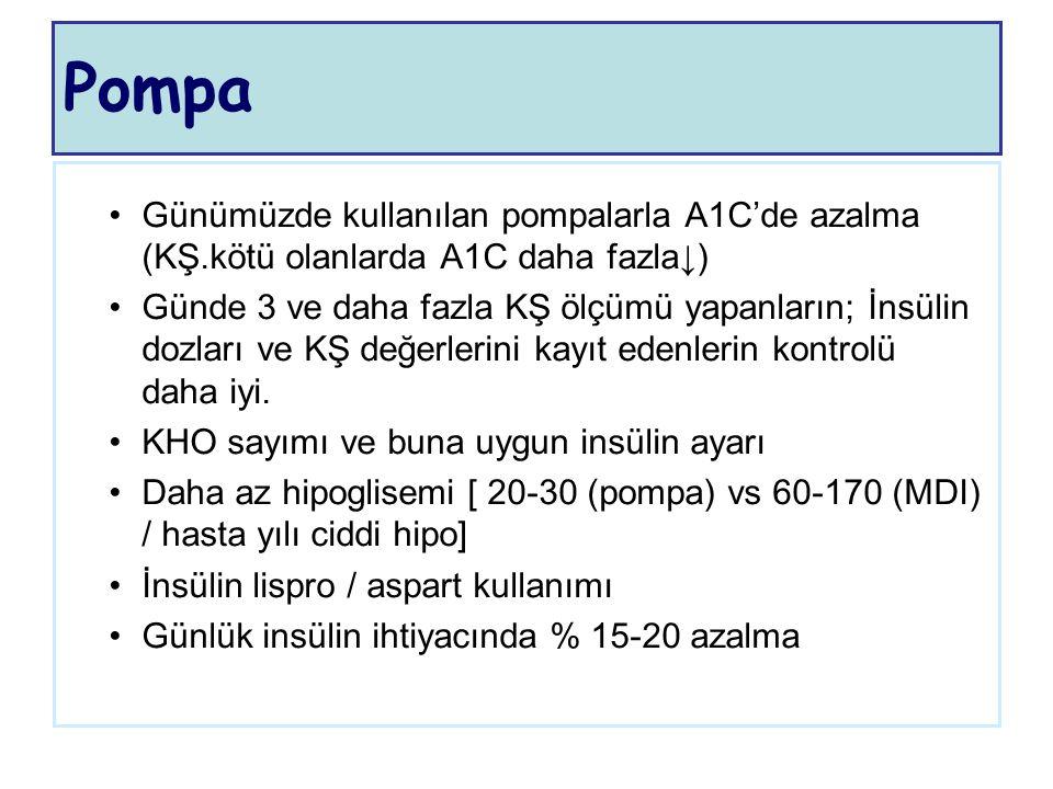 Pompa Günümüzde kullanılan pompalarla A1C'de azalma (KŞ.kötü olanlarda A1C daha fazla↓)