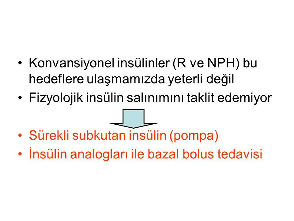 Konvansiyonel insülinler (R ve NPH) bu hedeflere ulaşmamızda yeterli değil