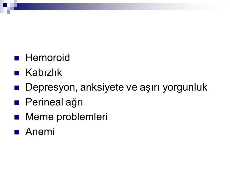 Hemoroid Kabızlık Depresyon, anksiyete ve aşırı yorgunluk Perineal ağrı Meme problemleri Anemi