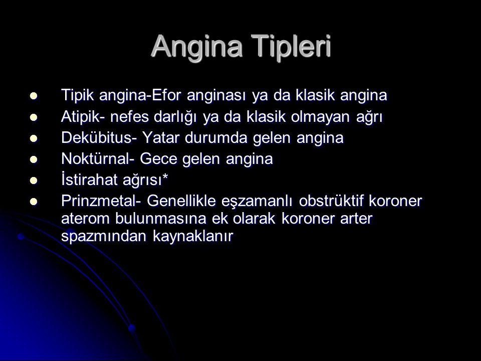 Angina Tipleri Tipik angina-Efor anginası ya da klasik angina
