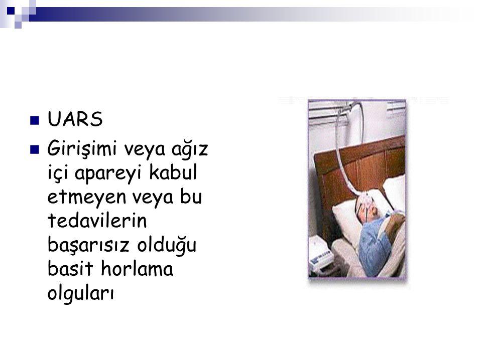 UARS Girişimi veya ağız içi apareyi kabul etmeyen veya bu tedavilerin başarısız olduğu basit horlama olguları.