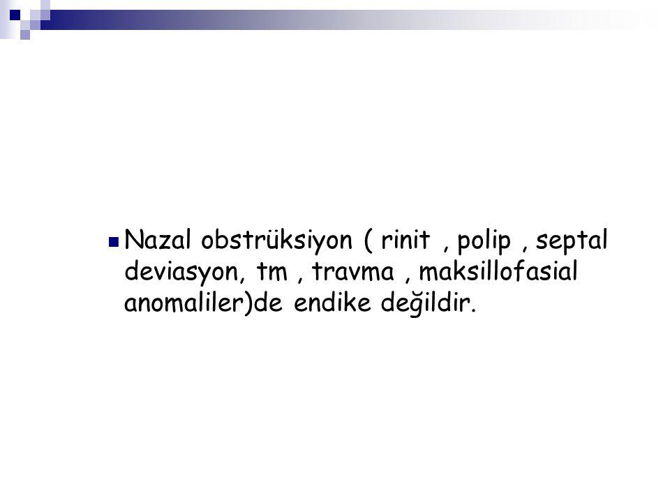 Nazal obstrüksiyon ( rinit , polip , septal deviasyon, tm , travma , maksillofasial anomaliler)de endike değildir.