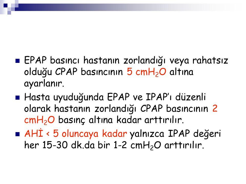 EPAP basıncı hastanın zorlandığı veya rahatsız olduğu CPAP basıncının 5 cmH2O altına ayarlanır.