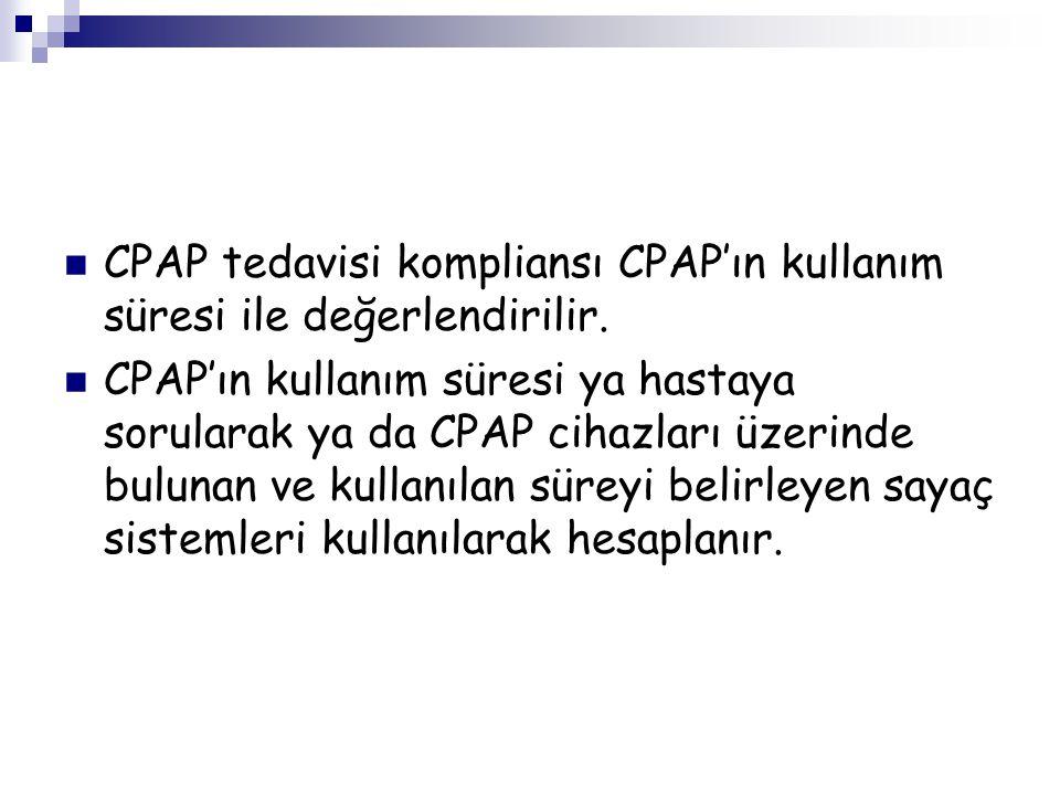 CPAP tedavisi kompliansı CPAP'ın kullanım süresi ile değerlendirilir.