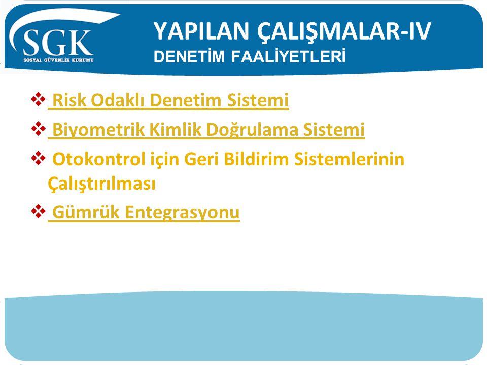 YAPILAN ÇALIŞMALAR-IV DENETİM FAALİYETLERİ