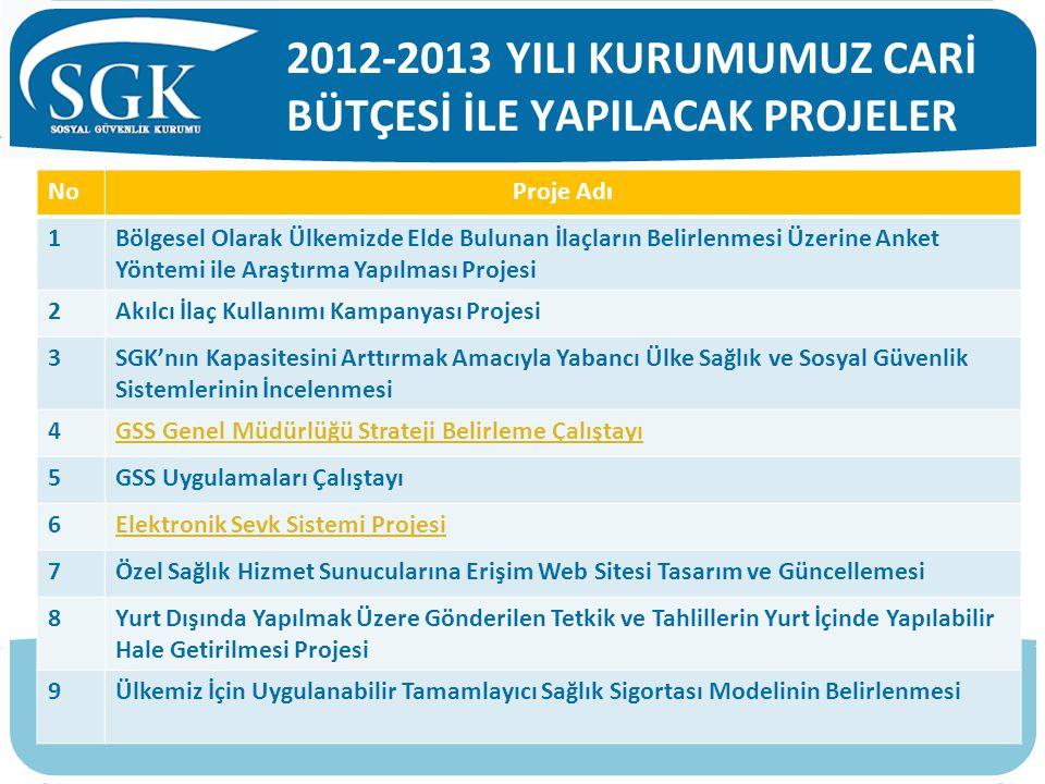 2012-2013 YILI KURUMUMUZ CARİ BÜTÇESİ İLE YAPILACAK PROJELER