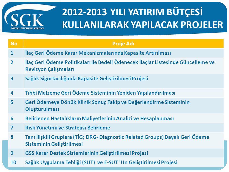 2012-2013 YILI YATIRIM BÜTÇESİ KULLANILARAK YAPILACAK PROJELER