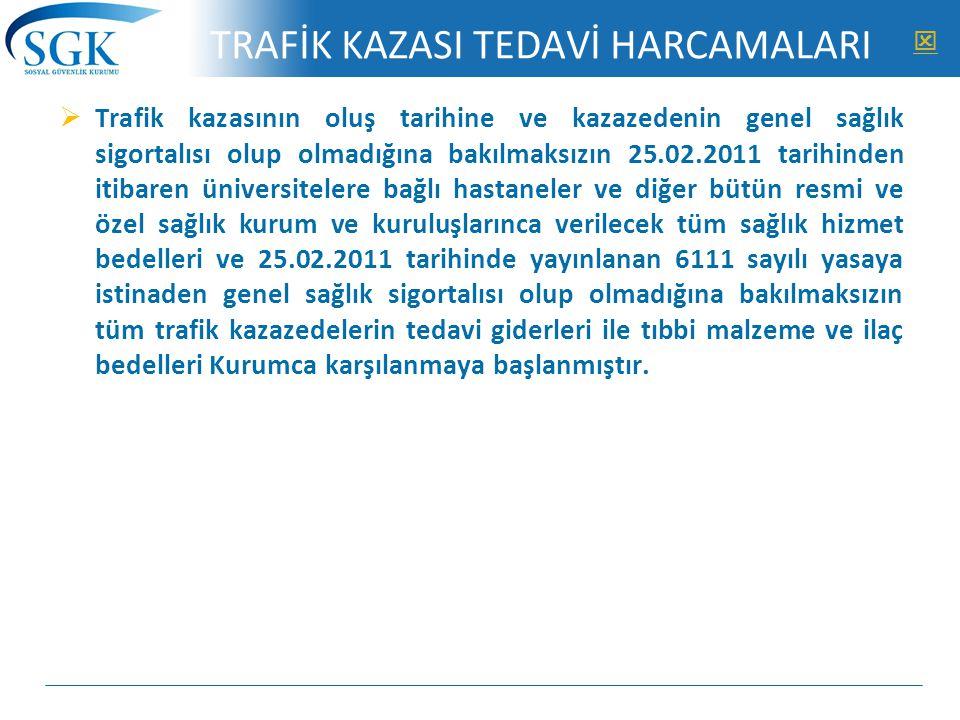 TRAFİK KAZASI TEDAVİ HARCAMALARI