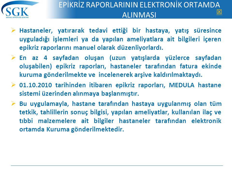 EPİKRİZ RAPORLARININ ELEKTRONİK ORTAMDA ALINMASI