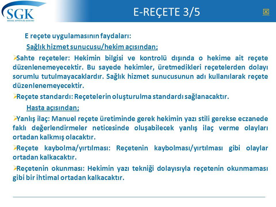 E-REÇETE 3/5  E reçete uygulamasının faydaları: