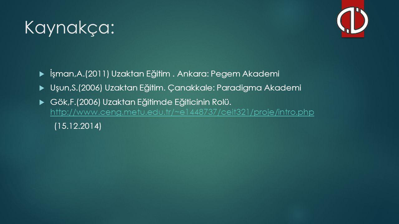 Kaynakça: İşman,A.(2011) Uzaktan Eğitim . Ankara: Pegem Akademi