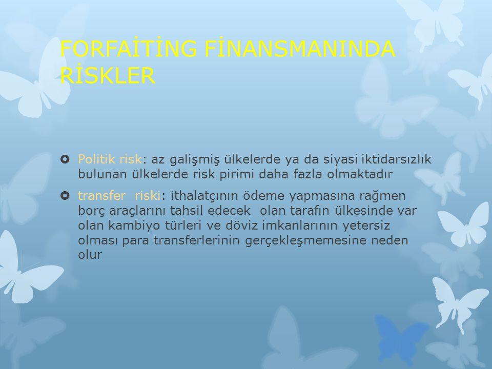 FORFAİTİNG FİNANSMANINDA RİSKLER