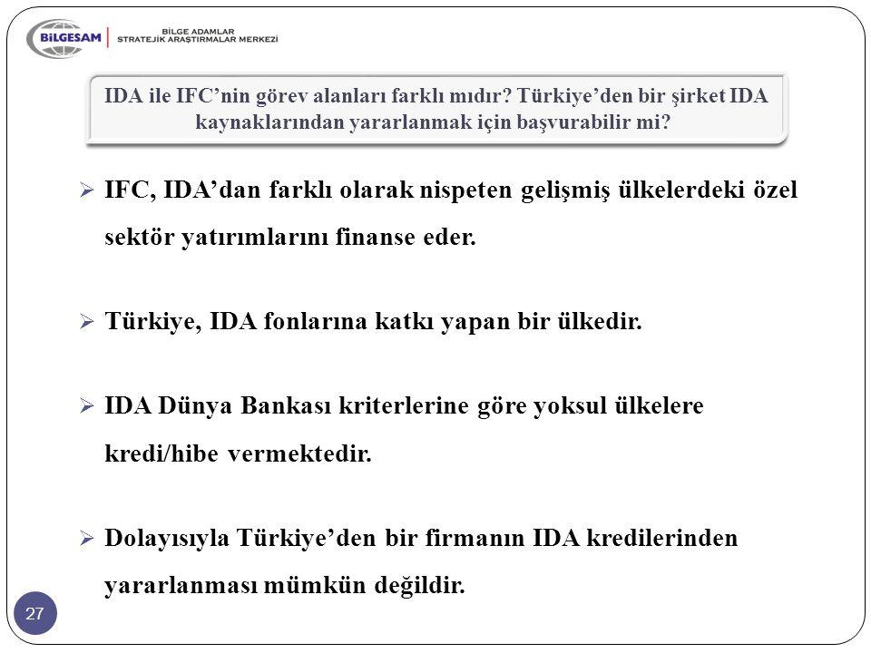 Türkiye, IDA fonlarına katkı yapan bir ülkedir.