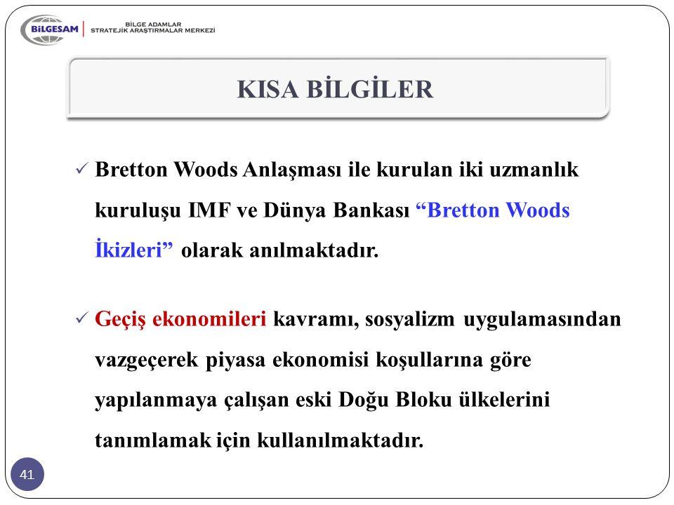 KISA BİLGİLER Bretton Woods Anlaşması ile kurulan iki uzmanlık kuruluşu IMF ve Dünya Bankası Bretton Woods İkizleri olarak anılmaktadır.